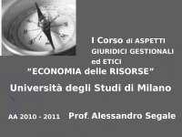 Economia delle risorse - Slides di Economia E Diritto