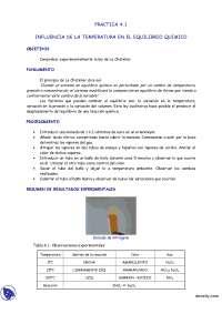 Equilibrio químico - Análisis Químico e instrumental - Análisis y control