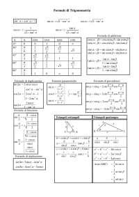 Formule Trigonometriche - Appunti di Matematica