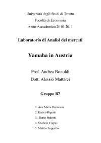 Laboratorio di analisi dei mercati - Report: Yamaha in Austria