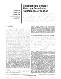 micromachining of metals alloys and ceramics by picosecond laser ablation