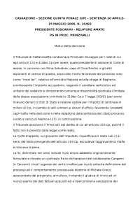 Sentenza Diritto Penale II sul concorso di persona nel reato: Prinzivalli
