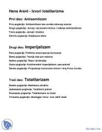 Hana Arent - Izvori totalitarizma (sadrzaj)-Skripta-Filozofija politike