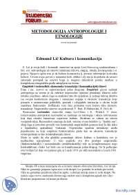 Edmund Lic, Kultura i komunikacija-Skripta-Metodologija Etnologije i Antropologije