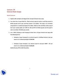 Interest Rate Swaps - International Finance - Quiz