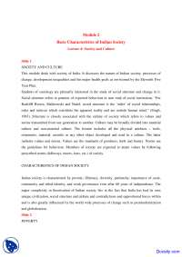 Characteristics of Indian Society - Humanities and Social Sciences - Lecture Notes