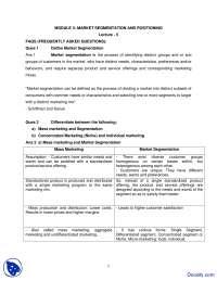 Market Segmentation and Positioning - Consumer Behavior - Solved Quiz