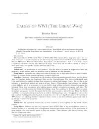 Causes of wwi , college study notes - Causes of wwi