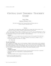 Central limit theorem teacher's guide, college study notes - Collaborative collection