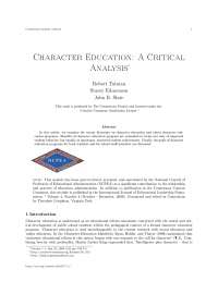Character education a critical analysis
