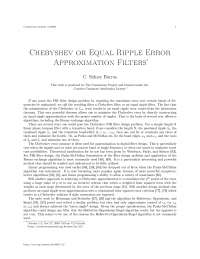 Chebyshev or equal ripple error approximation filters