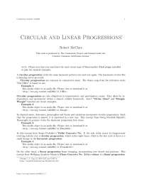 Circular and linear progressions, college study notes - Circular and linear progressions
