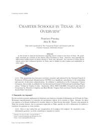Charter schools in texas an overview, college study notes - Sumario en espanol