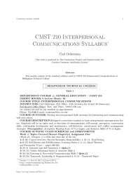 Cmst 210 interpersonal communications syllabus, college study notes - Cmst 210 interpersonal communications syllabus