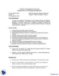 Business Research Methods - Management Sciences - Course Outline