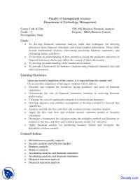 Financial Statement Analysis - Management Sciences - Course Outline