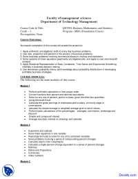 Business Statistics and Mathematics - Management Sciences - Course Outline