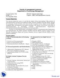 Telecom Technologies - Management Sciences - Course Outline