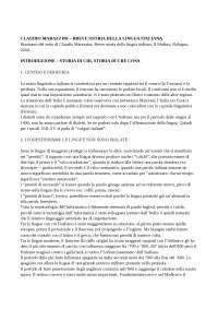 Breve storia della lingua italiana - CLAUDIO MARAZZINI riassunto di Linguistica