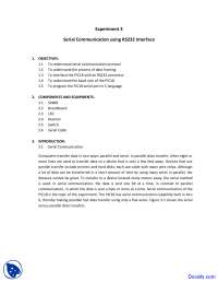 Serial Communication - Microprocessor Interfacing - Lab Manual
