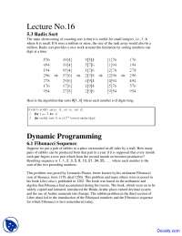 Radix Sort, Dynamic Programming - Design and Analysis - Study Notes