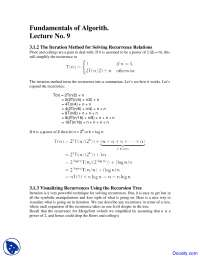 The Iteration Method for Solving Recurrence Relations - Design and Analysis - Study Notes