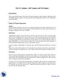 Simplex, Half Duplex and Full Duplex - Telecommunications - Lecture Notes