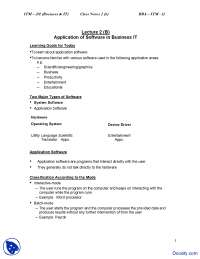 Application of Software in Business IT - Introduction to Computing and IT - Study Notes
