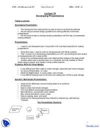 Developing Presentations - Introduction to Computing and IT - Study Notes