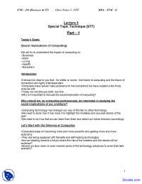 Special Topic Technique - Introduction to Computing and IT - Study Notes