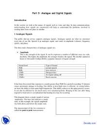 Analogue and Digital Signals - Telecommunications - Lecture Notes