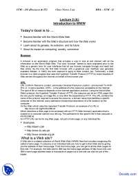 Introduction to WWW - Introduction to Computing and IT - Study Notes
