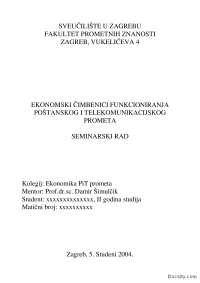 Ekonomski cinioci funkcionisanja-Seminarski rad-Ekonomika-Saobracajni fakultet