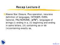 Regular Expression - Theory of Automata - Lecture Slides