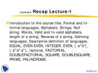 Recursive Definition of Languages - Theory of Automata - Lecture Slides