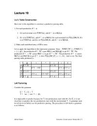Predictive Parsing Table - Compiler Construction - Lecture Notes