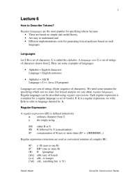 Languages, Regular Expression - Compiler Construction - Lecture Notes