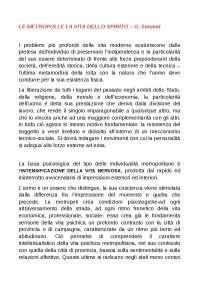 Le metropoli e la vita dello spirito - Appunti di Sociologia della Comunicazione - Simmel