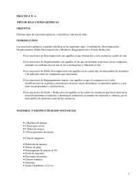 Tipo de reacciones quìmicas - Prácticas -  Química Inorgánica - Química