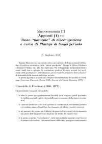 Il modello di Friedman - Appunti di Macroeconomia
