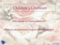 Reading to Children - English Literature - Lecture Slides