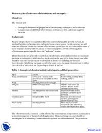 Disinfectants and Antiseptics - Food Microbiology - Lab Manuals