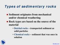 Types of Sedimentary Rocks - Dynamic Earth - Lecture Slides
