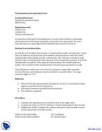 Fermentation Tests - Food Microbiology - Lab Manuals