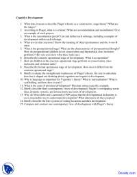 Cognitive Development - Cognitive Psychology - Quiz