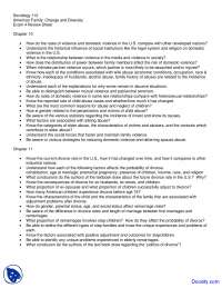Violence, Divorce and Family Policy - American Family Change and Diversity - Handout