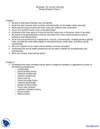 Theoretical Perspectives on Sexuality, Sex Research and Sexual Response - Human Sexuality - Handouts