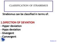 Classification of Strabismus - Introduction to Ophthalmology - Lecture Slides