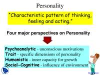 Personality - Introduction to Psychology - Lecture Slides