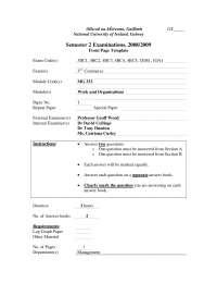 Customer Satisfaction - Work and Organisations - Exam